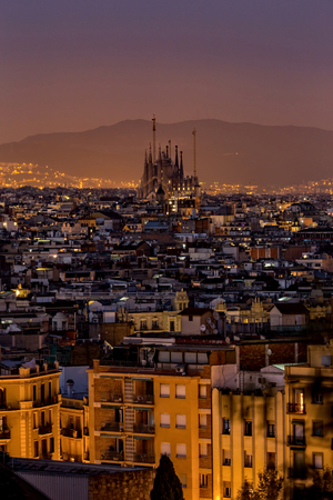 sagrada: Night scene from city Barcelona in Spain