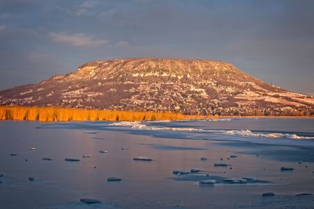 afloat: Landscape from Hungary, lake Balaton and mountain Badacsony in winter