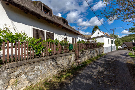 Typical houses in the village Szigliget from Hungary