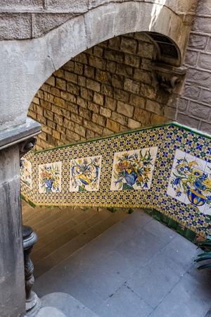 Detail of Casa del Ardiaca in Barcelona of Spain