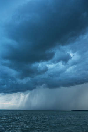Big powerful storm clouds over tke Lake Balaton of Hungary Stock fotó