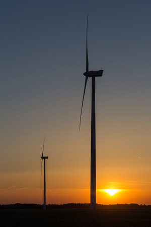 Windmills in the sunset light from Hungary