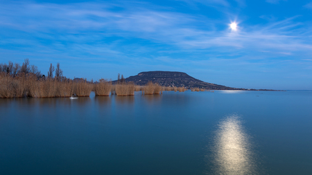 Long exposure picture from the lake Balaton of Hungary at the evening