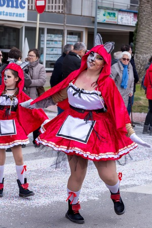 Palamos, Spain - february 11, 2018, Traditional carnival parade in a small town Palamos, in Catalonia, in Spain .