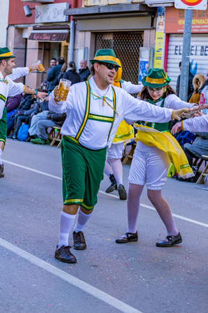 Palamos, Spain - february 10, 2018, Traditional carnival parade in a small town Palamos, in Catalonia, in Spain . Editorial