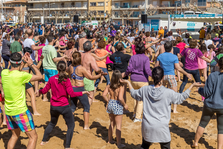 First bath of the year on the ocean in village Palamos in Costa Brava. 04.01. 2018 village Palamos Spain Editorial