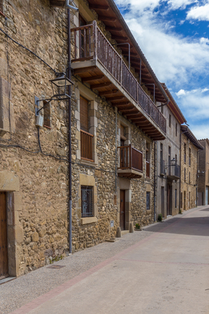 Beautiful old stone houses in Spanish ancient village Hostales den Bas in Catalonia of Spain Stock Photo