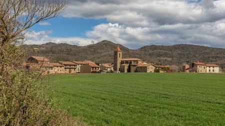 Beautiful Spanish landscape near the ancient village Hostales den Bas in Catalonia of Spain Stock Photo