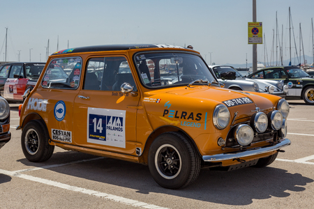 XV Rally Costa Brava Historic car race in a small town Palamos in Catalonia. 04. 20. 2018 Spain, town Palamos