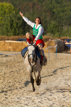 Traditional Hungarian horseback show in a small village Vonyarcvashegy, 18. 08. 2013 Hungary