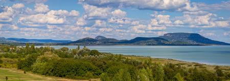 Beautiful Hungarian landscape over lake Balaton with old volcanoes