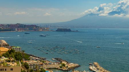 View of the Vesuvius volcano from the Posillipo area (Naples) Stock Photo