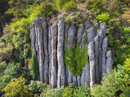 Aerial picture from nice natural basalt columns in a volcanic hill Saint George, near the lake Balaton of Hungary Standard-Bild