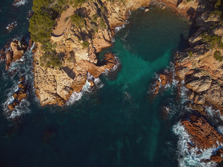 Drone footage over the Costa Brava coastal near the small town Palamos of Spain Фото со стока