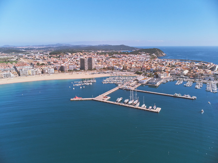 Aerial drone picture from small town Palamos from Spain, in Costa Brava