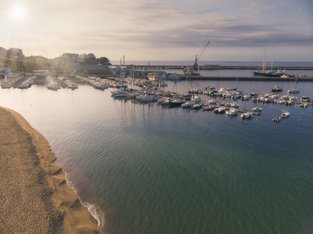 Aerial drone picture from small town Palamos from Spain, in Costa Brava 写真素材 - 120288430