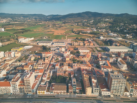 Aerial drone picture from small village Sant Antoni de Calonge from Spain, in Costa Brava