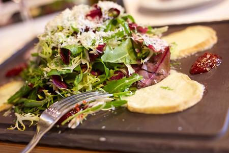 Fresh goat cheese salad on the Spanish restaurant