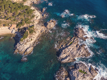 Aerial landscape picture from a Spanish Costa Brava in a sunny day, near the town Palamos