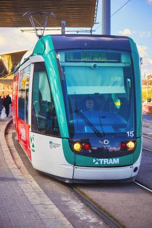 Modern streetcar, tram in Barcelona of Spain. 04. 06. 2019 Spain 報道画像