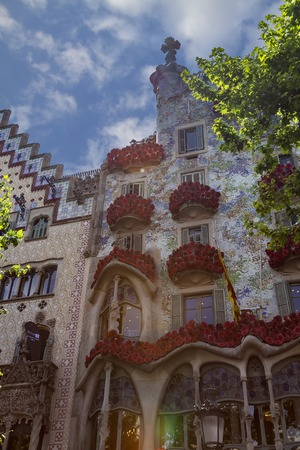 The Day of the Rose o The Day of the Book in Catalonia of Spain. Facade Casa Batllo . 23. 04. 2017 Spain