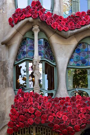 The Day of the Rose o The Day of the Book in Catalonia of Spain. Men gave women roses, and women gave men a book to celebrate the occasion. Facade Casa Batllo . 23. 04. 2017 Spain