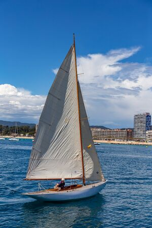 Traditional sail ships in the harbor Palamos in Costa Brava of Spain. 14. 05. 2017 Spain