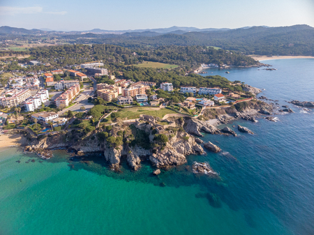 Drone picture over the Costa Brava coastal, small village La Fosca of Spain Foto de archivo