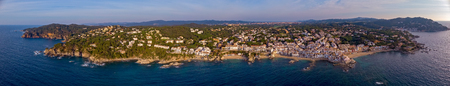 Drone panoramic picture over the Costa Brava coastal, small village Calella de Palafrugell of Spain