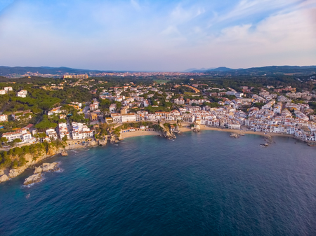 Drone picture over the Costa Brava coastal, small village Calella de Palafrugell of Spain