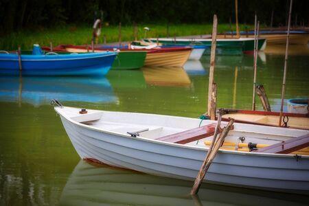 Small port for fishing boats in lake Balaton of Hungary