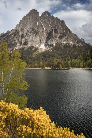 The beautiful Aigüestortes i Estany de Sant Maurici National Park of the Spanish Pyrenees in Catalonia Banco de Imagens