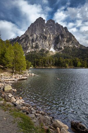 The beautiful Aigüestortes i Estany de Sant Maurici National Park of the Spanish Pyrenees in Catalonia