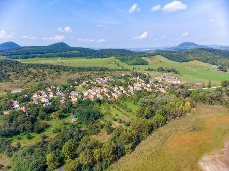 Aerial agricultural picture with volcanoes from Hungary, near the lake Balaton 写真素材