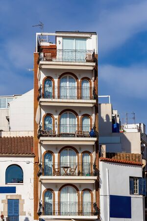 Interesting balconies from small village near Barcelona, Sitges in Spain