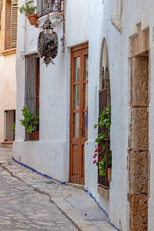Typical street detail in small spanish village Sitges, province of Barcelona in Spain