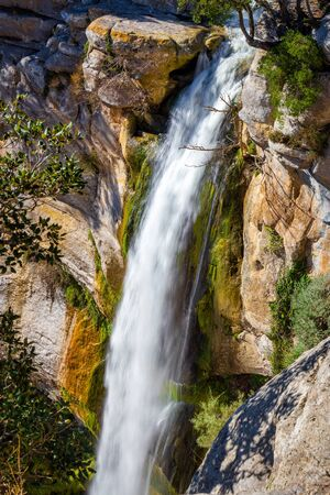 Beautiful big waterfall in Spain in Catalonia, near the small village Rupit. Salt de Sallent