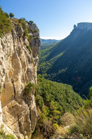 Beautiful spanish mountain landscape near the small village Rupit in Catalonia, park national