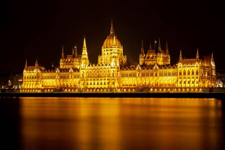 Long exposure night picture from beautiful, famous parliament from Budapest, capital of Hungary