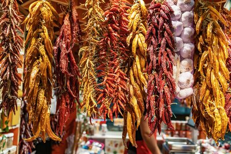 Dry paprika in a Hungarian market