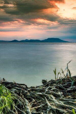 Beautiful colorful sunrise, lake Balaton in Hungary