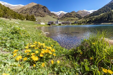 Very nice valley from Spain, mountain Pyrenees (name Vall de Nuria) Фото со стока