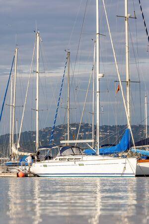 Sailboats in harbor Palamos in Coasta Brava of Spain