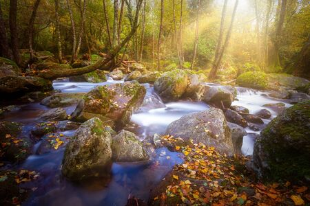 Beautiful mountain river from Spain, long exposure picture