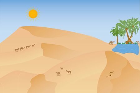 Hot african desert landscape with camels, dunes