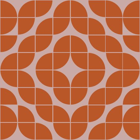 Interesting texture in 8x8 squares. Abstract geometric background with rounds. Colorful modern pattern in brown and beige colors Vector Illustration