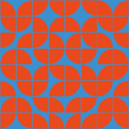 Interesting texture in 8x8 squares. Abstract geometric background with rounds. Colorful modern pattern in red and blue colors