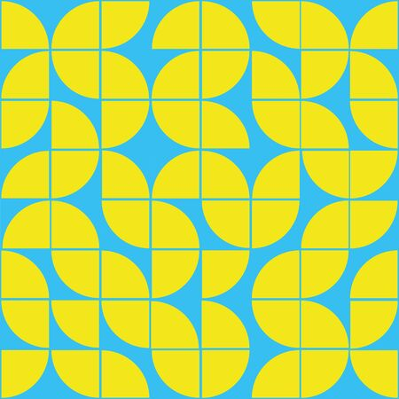Interesting texture in 8x8 squares. Abstract geometric background with rounds. Colorful modern pattern in yellow and blue colors