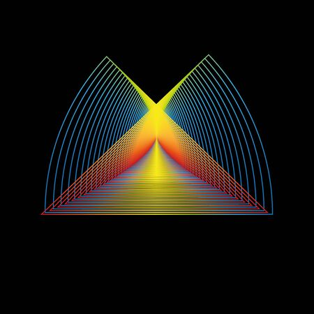 Interesting colorful logotype shape, vector image on a black background