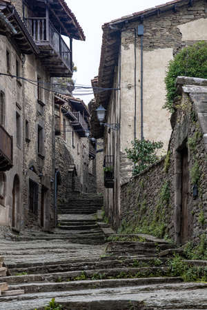 Streets of medieval village of Rupit, Catalonia of Spain
